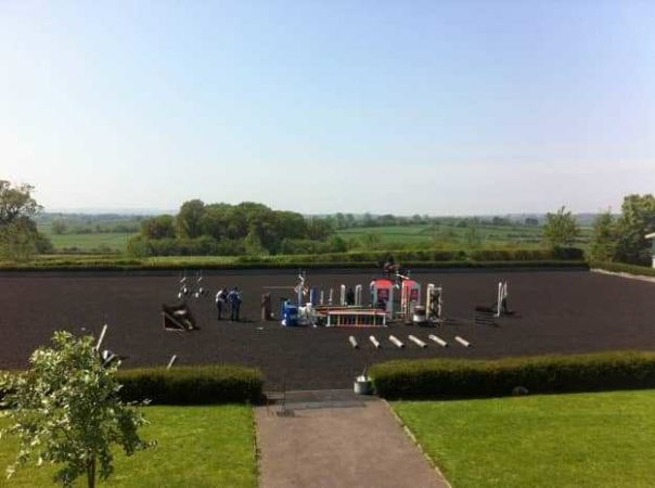 This is the view from three-day eventer William Fox-Pitt's offices - this is where his horses are exercised.