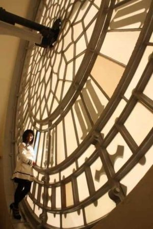 This is the inside of one of four clock faces on the tower
