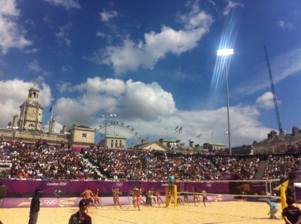 This was the most spectacular Olympic venue. Beach volleyball in the heart of the London. A genius idea!