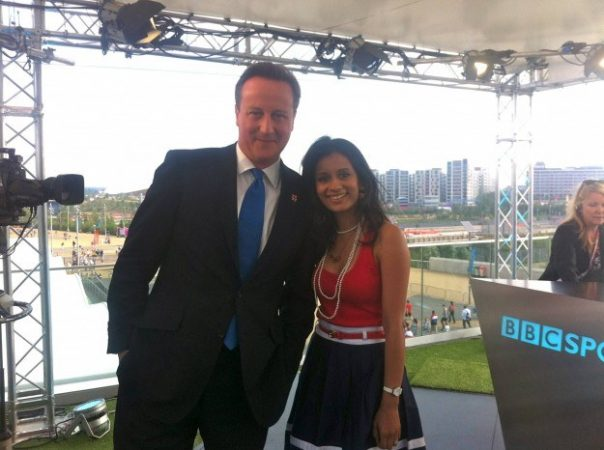 I was presenting live in the BBC Three studio when I saw David Cameron enter. He was being shown around and we lent them a corner of our studio so he could be interviewed by BBC Sport.