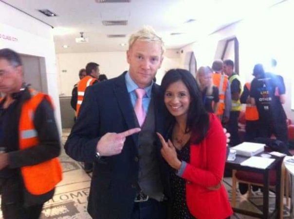 I bumped into former 400m runner Iwan Thomas in the media holding area ahead of the parade