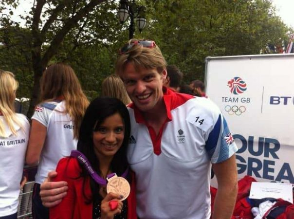 Rower Alan insisted I wear his bronze medal. I lost the battle!