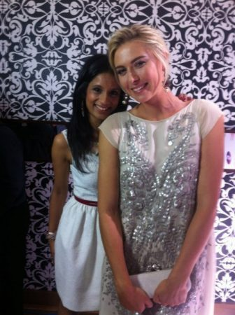 This was taken at the WTA pre-Wimbledon party. Yes, I am standing on a box!