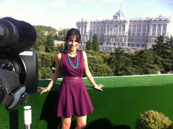 Filming on the rooftop of a hotel in the Spanish capital