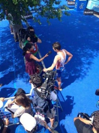 I was sent this snap of Jonny Brownlee speaking to me after his victory in Madrid