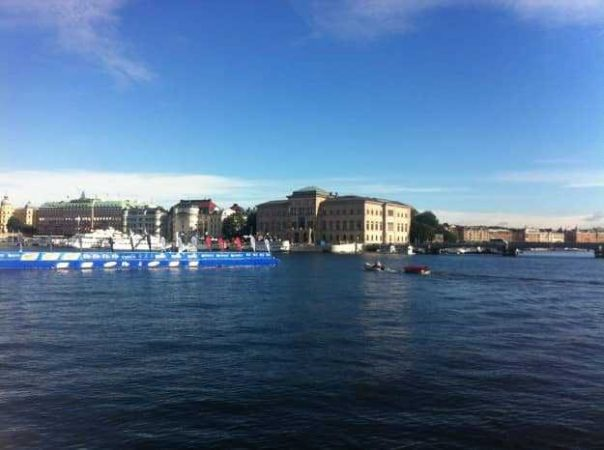 It was a pontoon swim for the races in Stockholm